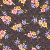 无缝的经典花有纹理背景 库存例证