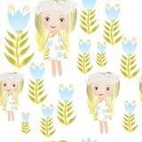 无缝的美好的小的神仙的女孩模式 库存照片