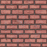 无缝的老红砖墙壁(手画) 库存照片