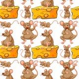 无缝的老鼠和乳酪切片 免版税库存照片