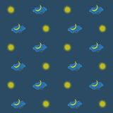 无缝的背景、黄色星和月,在深蓝背景的蓝色云彩,天空,夜 库存图片
