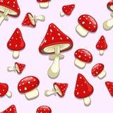 无缝的背景伞形毒蕈含毒物蘑菇 库存图片
