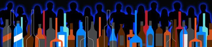 无缝的背景党人民和酒瓶 免版税库存照片