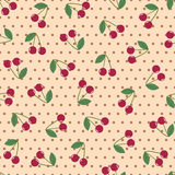 无缝的背景樱桃圆点 库存照片