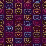 无缝的背景激动猫 与色的猫的逗人喜爱的儿童背景 也corel凹道例证向量 免版税库存图片