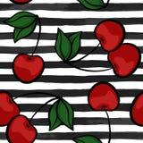 无缝的背景用在黑白水彩条纹的樱桃 为假日seasona的贺卡和邀请设计 皇族释放例证