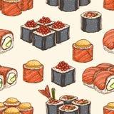 无缝的背景用寿司 免版税库存照片