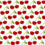 无缝的背景用成熟红色樱桃 向量例证