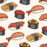 无缝的背景用手拉的寿司 向量例证
