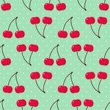 无缝的背景用甜樱桃 逗人喜爱的传染媒介樱桃样式 向量例证