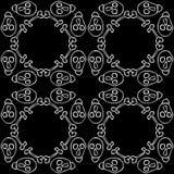 无缝的背景由头骨和骨头制成在黑白 免版税库存图片