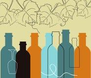 无缝的背景食物和酒瓶 库存例证