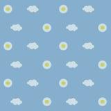 无缝的背景,与黄色中心的戴西,在浅兰的背景的白色云彩,天空,天 库存照片