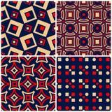 无缝的背景 与几何样式的蓝色米黄和红色经典集合 库存照片
