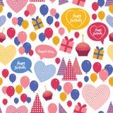 无缝的背景-生日快乐 心脏,礼物 免版税图库摄影