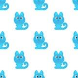 无缝的背景滑稽的动物标志CAT 库存例证