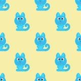 无缝的背景滑稽的动物标志CAT 免版税库存图片