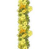无缝的背景黄色异乎寻常的花 库存照片