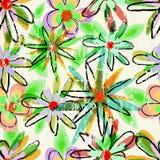 无缝的脏的花背景样式 免版税图库摄影