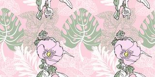 无缝的艺术性的花纹花样,美丽热带花卉 皇族释放例证