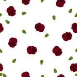 无缝的花卉样式深红蝴蝶花开花与在白色的绿色叶子 免版税库存图片