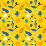 无缝的花卉样式背景热带花,密林棕榈叶鸟 免版税库存图片