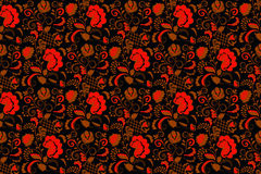 无缝的花卉背景黑色和红色 库存照片