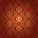 无缝的花卉巴洛克式的红色背景 免版税库存图片