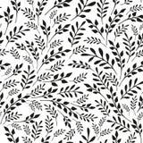 无缝的花卉黑白背景 免版税库存图片