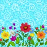 无缝的花和天空 免版税库存图片