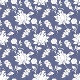 无缝的花梢莲花背景墙纸 向量例证
