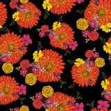 无缝的花纹花样背景传染媒介 与翠菊、雏菊、喇叭花和春黄菊花的植物布置 拉长的现有量 皇族释放例证