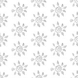 无缝的花背景。黑白。 免版税库存照片