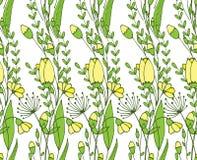 无缝的花装饰品和叶子分支 蝴蝶下落花卉花重点模式黄色 库存图片