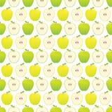 无缝的苹果样式-黄色和绿色苹果 库存图片