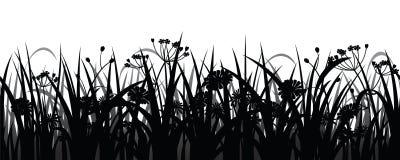 无缝的草和花剪影 免版税库存照片