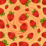 无缝的草莓样式有漩涡背景 库存图片