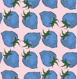 无缝的草莓 在样式剪影 库存图片