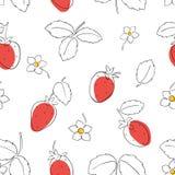 无缝的草莓 免版税图库摄影