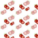 无缝的莓果纹理用草莓 免版税库存图片