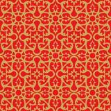 无缝的葡萄酒中国窗口网眼图案金黄圆的花纹花样背景 免版税库存图片