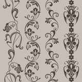 无缝的葡萄酒花卉垂直的边界 免版税库存图片