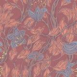 无缝的葡萄酒花卉棕色和蓝色样式 库存例证