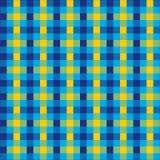 无缝的葡萄酒蓝色,绿色和黄色方格的织品样式背景纹理 库存照片