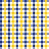 无缝的葡萄酒藏青色和黄色方格的织品样式背景纹理 免版税库存图片
