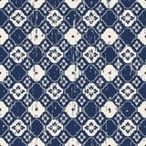 无缝的葡萄酒被佩带的蓝色花网眼图案样式背景 库存图片