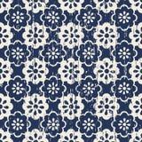 无缝的葡萄酒被佩带的逗人喜爱的蓝色花纹花样背景 免版税库存照片