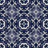 无缝的蓝色日本背景曲线十字架圆的花 库存例证