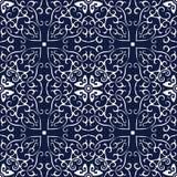 无缝的蓝色日本背景螺旋曲线十字架框架 库存图片