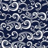 无缝的蓝色日本背景螺旋曲线波浪十字架 免版税库存图片